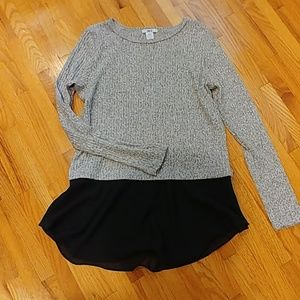 Multi media grey and black sweater